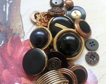 Collection of Buttons Black Gold Copper Metal Plastic Sewing Knitting Craft Supplies
