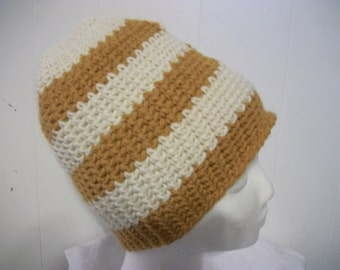 Gold and creme striped crochet hat