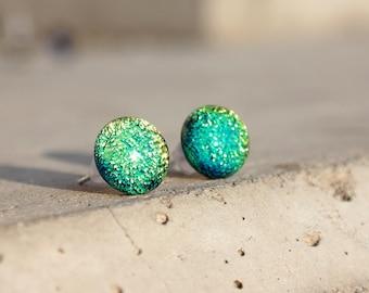 Spring green glass stud earrings - post earring - tiny stud earrings - Surgical steel studs