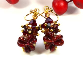 Cherry red Murano lampwork earrings, Artisan Glass Beads, gold plated