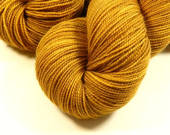 Hand Dyed Sock Yarn - Sock Weight Superwash Merino Wool Yarn - Honey Mustard - Knitting Yarn, Yellow Gold Tonal Fingering Yarn, Indie Dyed