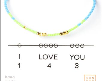 I Love You 143 Friendship Bracelet - Mint/Blue