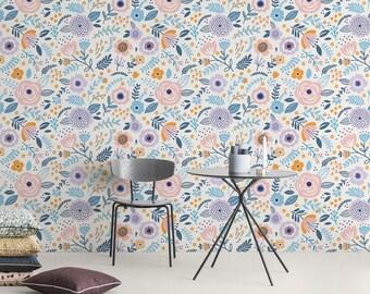 Removable Wallpaper, Desert Floral Wallpaper, Removable Wall Decor, Peel and Stick Wallpaper, Wall Paper Removable, Wallpaper - A106