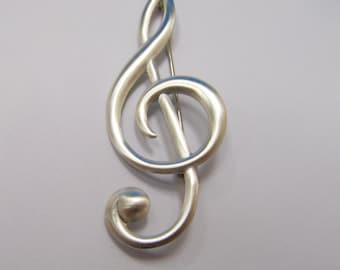 DANECRAFT Sterling Silver Treble Clef Pin Item W # 105