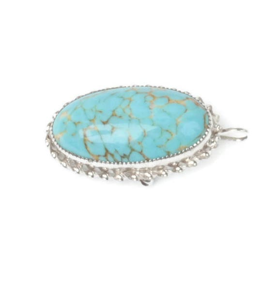 Turquoise Art Glass Oval Pendant or Brooch Sterling Setting Signed Vintage
