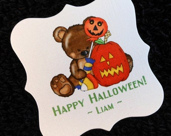 Personalized Halloween Tags - Party Favor Tags - Gift Tags - Bag Tags - Cookie Tags - Candy Tags - Bear with Pumpkin - Set of 20