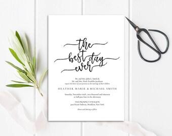 WI011 : Wedding Invitation Template, Invitation Set, Editable Wedding Invite,Vintage Wedding Invitation Printable