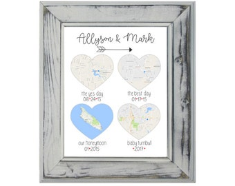 We Met, She Said Yes, We Married, We Live, 8x10 Art Print,  Maps, Wedding Gift, Engagement Gift, Our Home, We Said I Do, Met, Married, Live