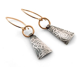 Lucie Industrial Earrings - Silver and Gold Dangle Triangle Earrings Handmade by Queens Metal
