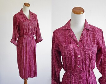 Vintage Shirtdress, Military Dress, 80s Berry Pink Dress, Digital Geometric Print Dress, 1980s Dress, Collared Dress, Small Medium