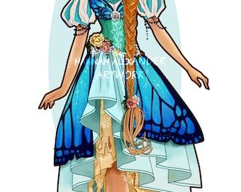 A4 ART PRINT || Thumbelina Art Nouveau Style