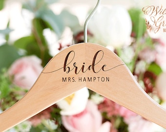 Personalized Wedding Hanger - Mrs Bridal Name Hanger - Mrs Hanger for Wedding Dress - Engraved Wedding Hanger