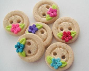 Button Sandy Beach and Flowers handmade polymer clay buttons ( 6 )