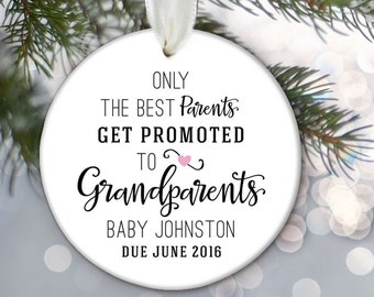 Pregnancy Ornament, Birth Announcement Ornament, Grandparents Ornament, Personalized baby Ornament Only the best parents get promoted OR568