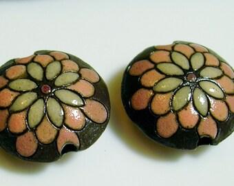 Earring Pair-- Pink/Brown Ceramic Beads from Golem Studio