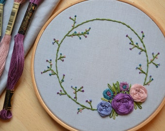 Hand embroidered floral wreath embroidery hoop. Gift or home decor.