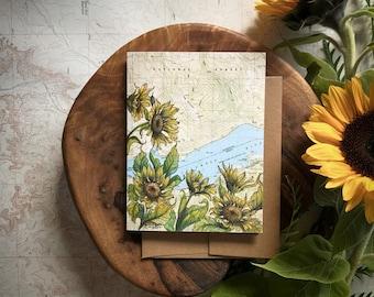 Dog Mountain Greeting Card, Columbia River Gorge illustration card, Washington mountain flower card, print art topo map art, blank card