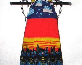 Childs Apron Batman Kids Ages 3 to 8 Reversible Adjustable