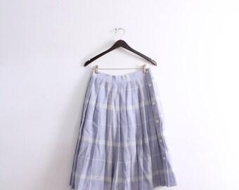 Pastel Lavender Plaid Pleated Skirt