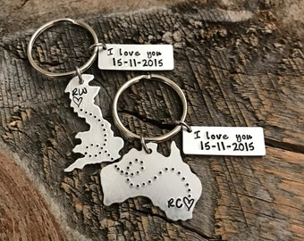 Boyfriend gift Girlfriend gift Husband Wife Gift State Keychain Long Distance Relationship gift Sister gift Missionary Gift Going away gift