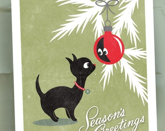 Christmas Kitty / Black Cat / Vintage Style Christmas Cards / Red Ornament / Green and Red / Seasons Greetings / Set of 15 Holiday Cards