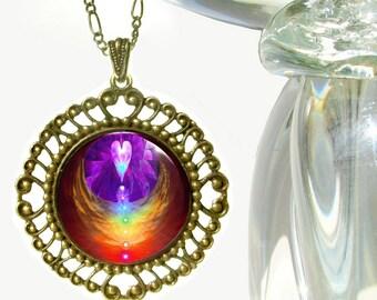 """Chakra Art Jewelry Reiki Angel Necklace Pendant """"Chakra Heart"""""""