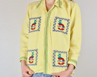 Vintage Guatemalan Embroidered Shirt Yellow Birds Pockets Button Down Hand Stitched 80s 70s Vintage Long Sleeve Boho Hippie Festival