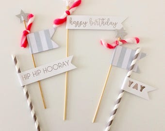 Silver and Grey Birthday Cake Toppers