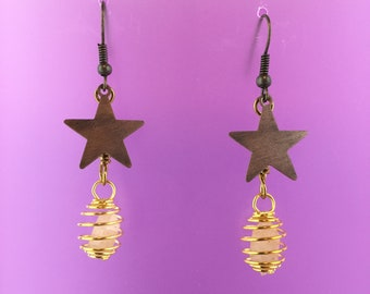 Bronze Star Gold White Pecos Diamonds Quartz Crystals Earrings Fun Gift Spinning