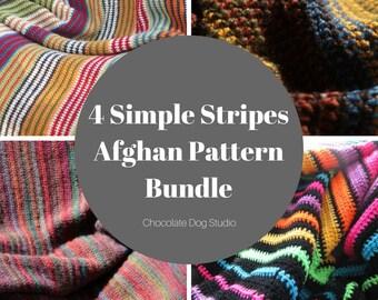 Crochet Blanket pattern bundle- 4 simple stripes afghan patterns