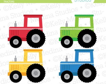 Tractors Green Blue Red Yellow - Clip Art Set Digital Elements for Cards, Stationery and Paper Crafts and Products