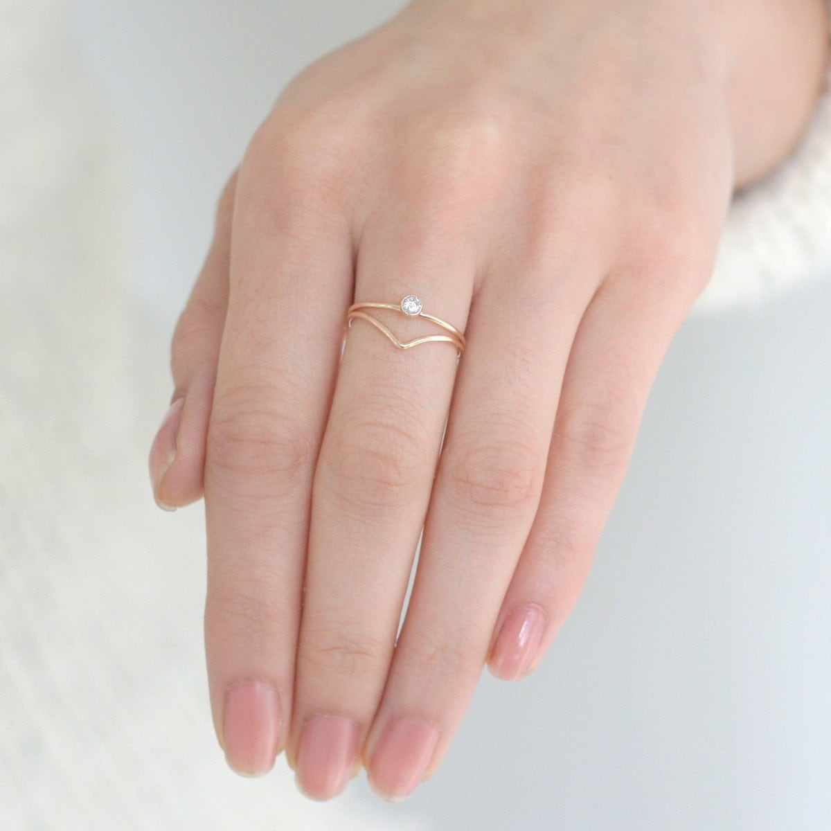 SOLID 14k gold ring set. chevron diamond ring. stackable