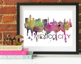 Mexico City Watercolor Skyline, Mexico City Skyline, Mexico City Art, Mexico City Poster, Mexico City Print, Mexico City Art, Mexico City