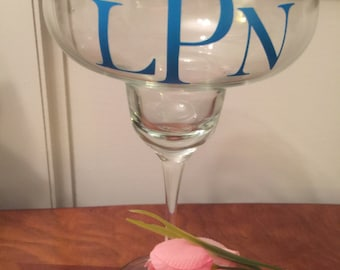 Margarita Glass, Monogrammed Glass, Vinyl Lettering, Vinyl Decal, Party Glass