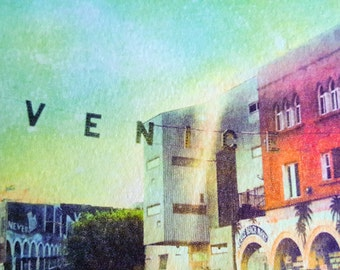California Decor Venice  Beach  Photo  Set print set Colorful Palm Trees