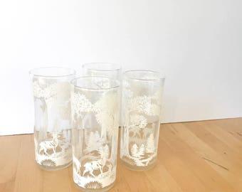 Vintage Enameled Woodland Glasses Set, 1960s Glassware, Holiday Glasses, Vintage Glasses, Tumblers, Christmas Glasses, Enameled Glasses