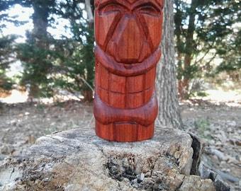 Handmade Tribal Tiki Head Redheart Wood Carving