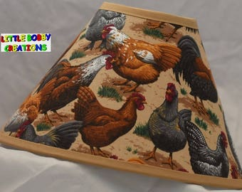 Country Chickens Rooster Hens Fabric Lamp Shade (10 Sizes to Choose From)