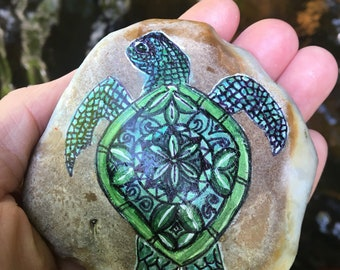 Sea Turtle totem altar stone, energy art painted stones, turtle totem, altar decoration, ritual stones, earthartalchemy