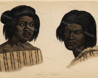 1844  Original Antique Engraving of Human Race Native of California  Hand colored
