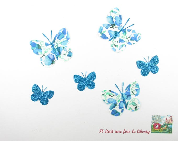 Applied fusing fabric liberty Victoria Virginia blue and butterflies flex glitter patch iron on butterfly applique liberty coat