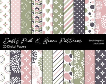 """Dusty Pink & Green Patterns, 20 Digital Papers 12""""x 12"""", Photoshop Pattern File PAT Included, Seamless, Commercial Use, INSTANT DOWNLOAD"""