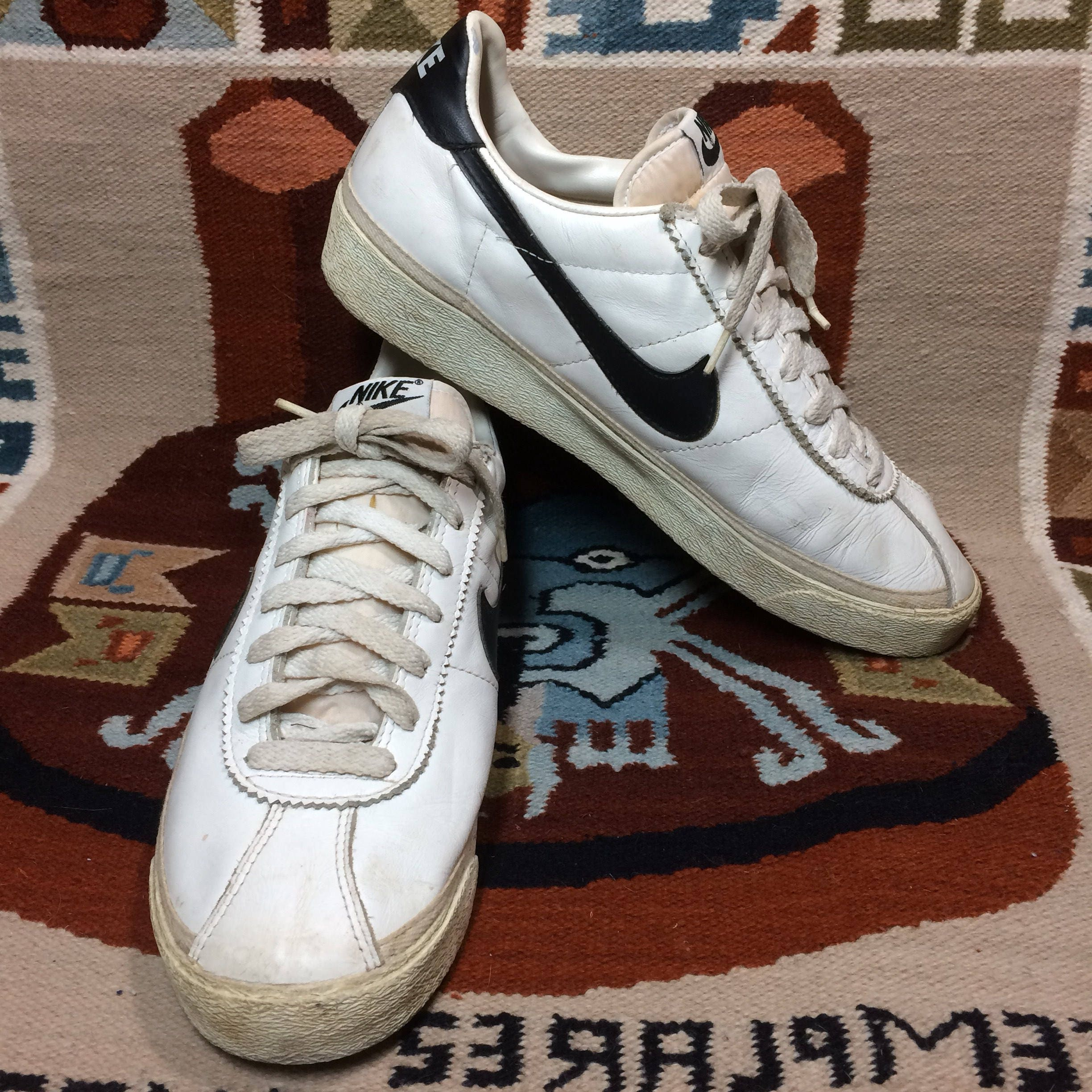 1994 Nike Bruin leather Sneakers size 9 White black swoosh made in Thailand  Marty McFly back to the future
