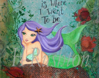 Mermaid Art , Mermaid Wall Art, Children's Mermaid Art, Mermaid Print - Large Art Print Sizes11x14 or 16x20 by HRushton