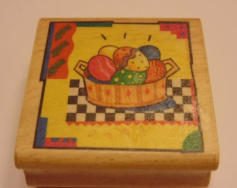 painted Eggs in Basket, rubber stamp, 45 mm (A8)