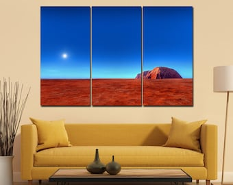 3 Panel Uluru - Ayers Rock Australia Leather Print/Large Wall Art/Large Wall Decor/Australia Print/Made in Italy/Better than Canvas!