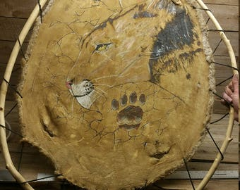 hand painted / panther painted on beaver hide 24-32