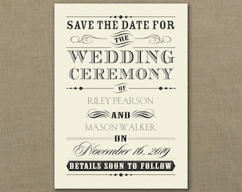 Save The Date Wedding Day Declaration Vintage Typography Design 115 lb Smooth Paper Ecru Or White, Blank Envelopes Included