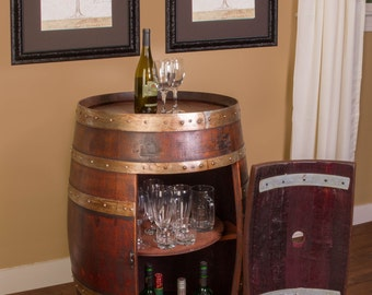 1017 Wine Barrel Cabinet - Table with Storage Inside