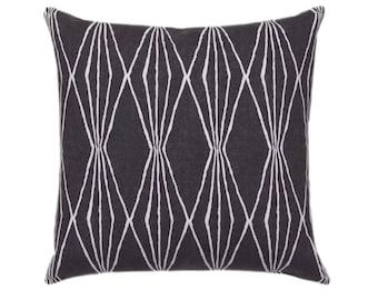 Decorative Graphic Charcoal Grey Pillow Cover // 18x18, 20x20, 22x22 //  Dark Grey Throw Pillow // Diamond Accent Pillow // Geometric Pillow
